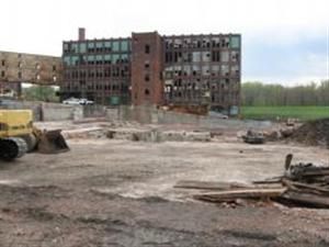 Demolished and dilapidated buildings at Uniroyal site