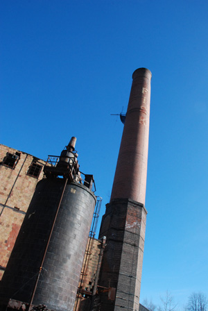 Smoke stack of a building on the Uniroyal property
